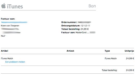 itunes factuur iTunes Match waait over naar Europa » One More Thing